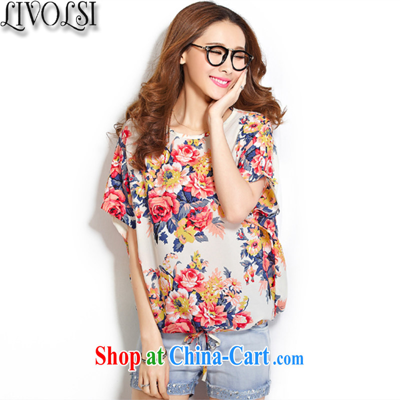 Livolsi larger female summer leisure stamp loose bat sleeves snow woven shirts thick MM fat suit T-shirt 3 XL
