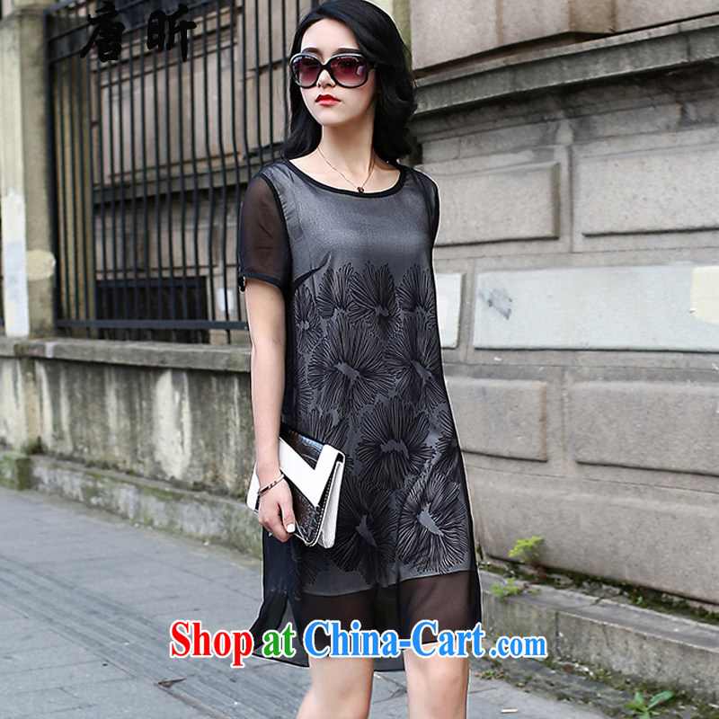 Tang year summer new, the United States and Europe is indeed more generous stamp duty snow woven dresses larger female short-sleeved skirt black 1775 XL 3 150 - 160 Jack left and right