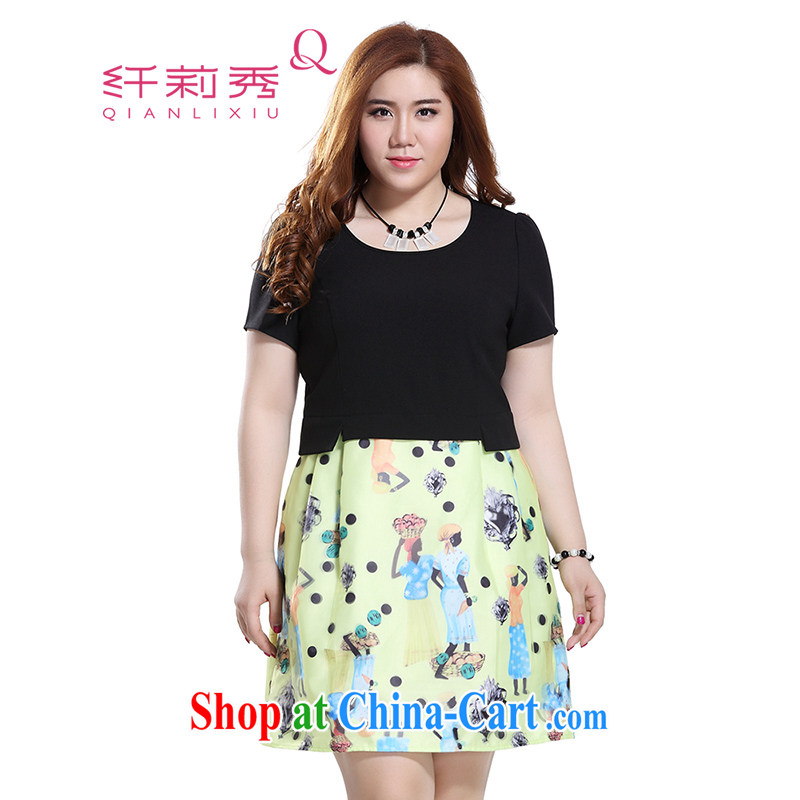 Slim Li-su 2015 summer new, larger female Fashion Round leave of two in Europe by root pattern dresses Q 8322 black 4XL
