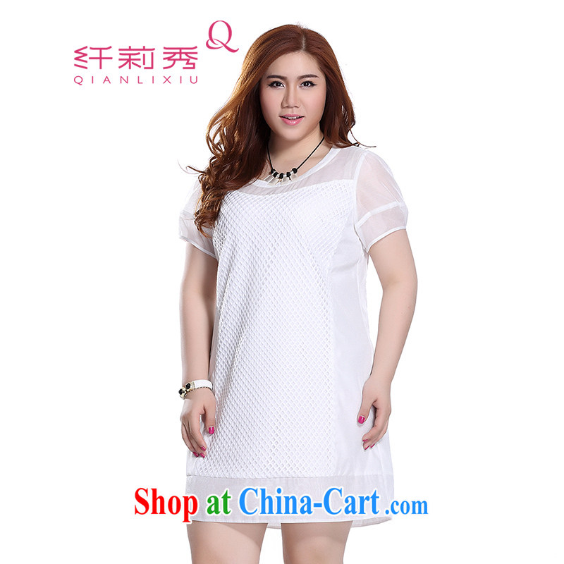 Slim LI Sau 2015 summer new, larger female round-collar stretch mesh stitching and stylish short-sleeve dresses Q 8617 m White 4 XL