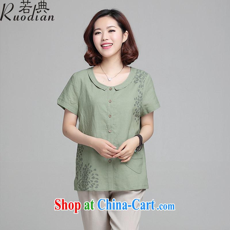 If so, older women summer short sleeve large code loose T shirt shirts new stamp T-shirt MOM replace linen thin clothing has begun green XL