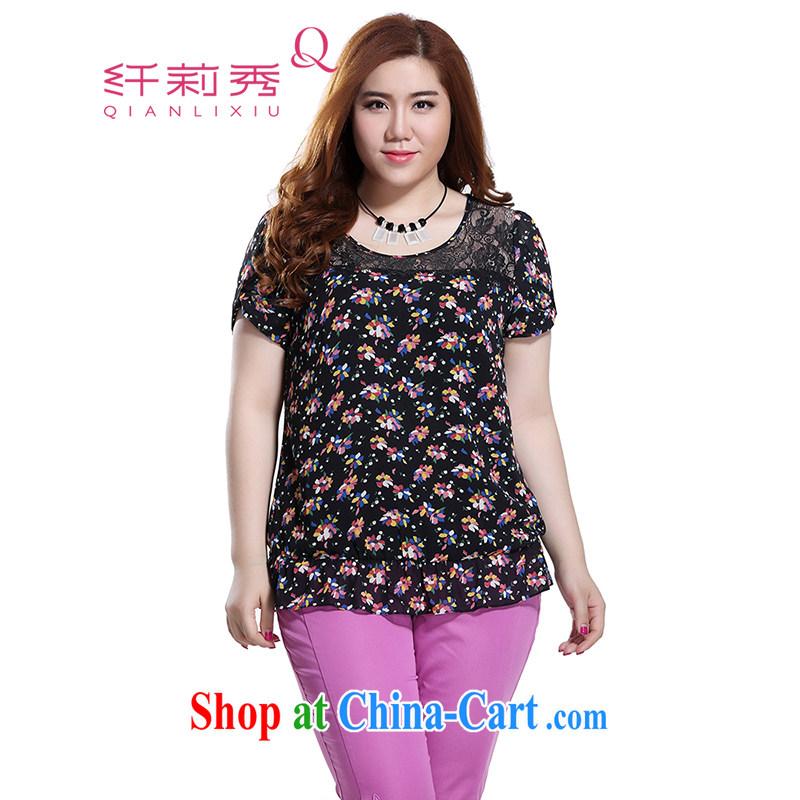 Slim LI Sau 2015 summer new, larger clothes and stylish lace stitching flouncing small floral snow woven shirts T-shirt Q 8320 black 3 XL