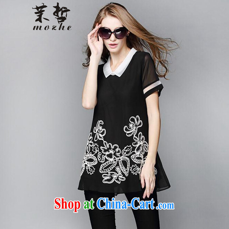Energy-chul 2015 larger female thick MM summer, long T-shirt loose video thin T shirt short-sleeved thick sister black snow woven shirts black 3 XL