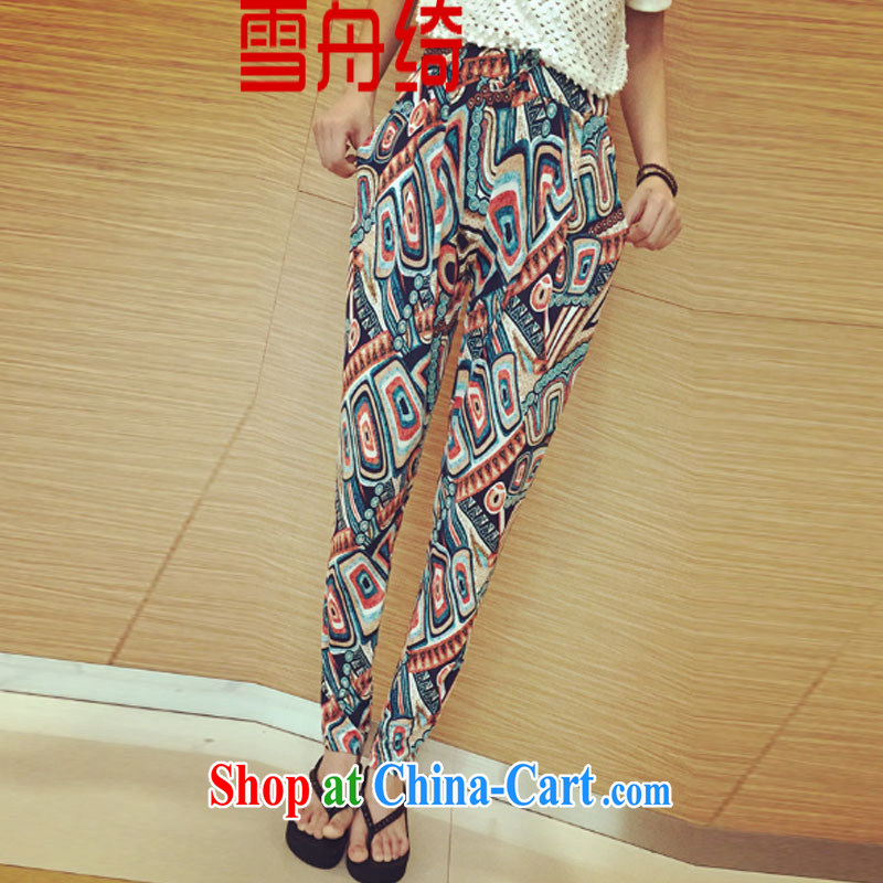 Snow Storm, 2015 new thin retro stamp duty trousers, Trouser Press girls summer Korean version loose the code female pants A 5213 blue XL