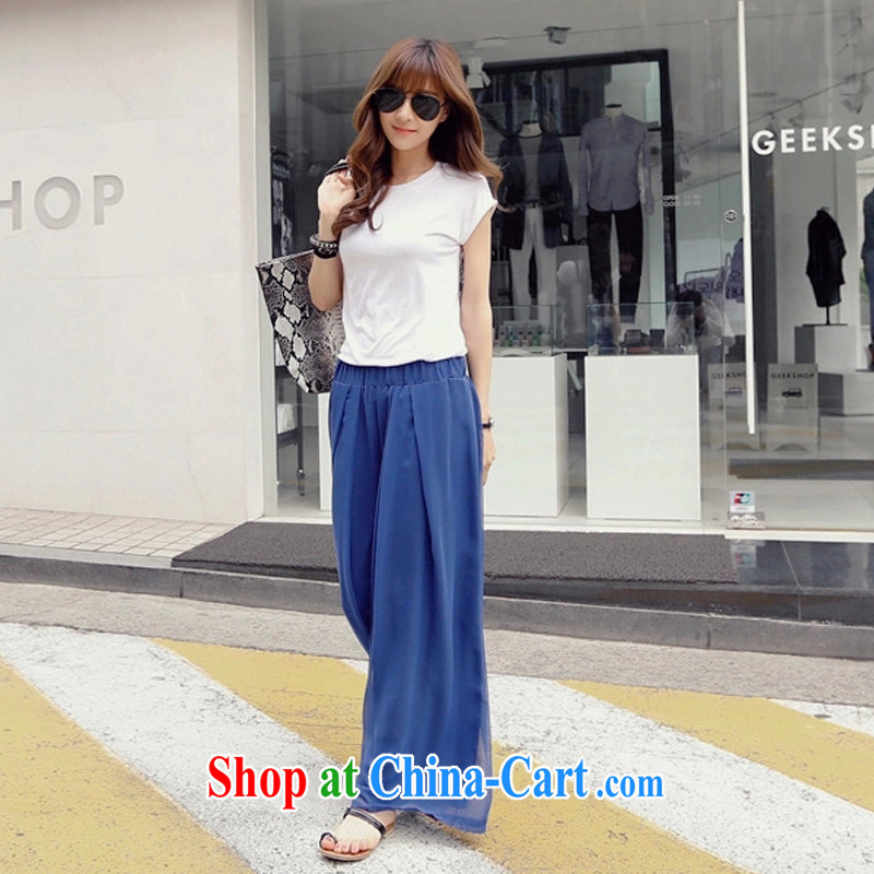 Crown Platinum 2015 Summer Snow woven Wide Leg pants and skirts trousers and indeed XL mm thick loose video Thin Black Elastic waist long pants blue XXXL