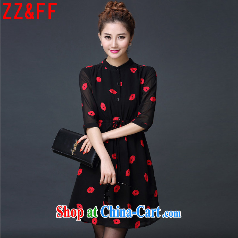 ZZ _FF summer 2015 new European version 7 of the cuff is decorated women who graphics thin ice woven shirts red lips dress Q 5119 black XXXXXL