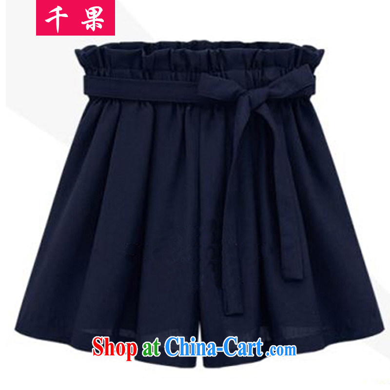 1000 fruit 2015 summer new thick sister larger female 200Jack loose video thin elasticated waist bow-tie and indeed widening and shorts hot pants 367 Tibetan cyan 5 XL recommendations 180 - 200 jack