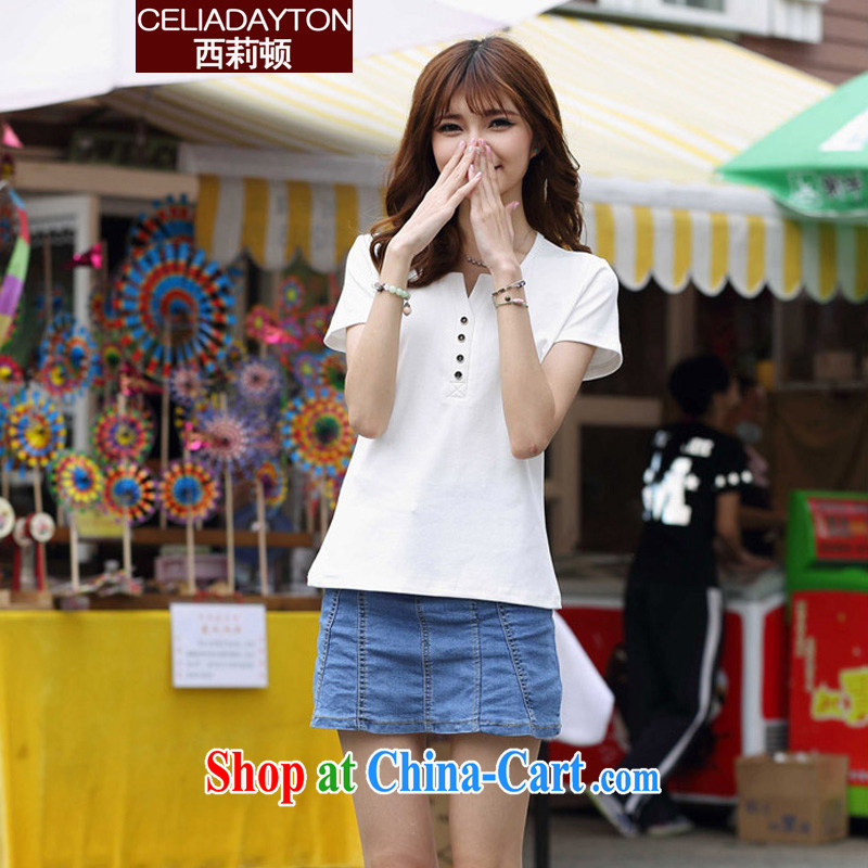 Szili Clinton's summer solid T-shirt girl short-sleeved 2015 new thick mm sister and indeed XL loose Korean Mrs female T-shirt T-shirt with short sleeves T-shirt 200 Jack white XXXXL