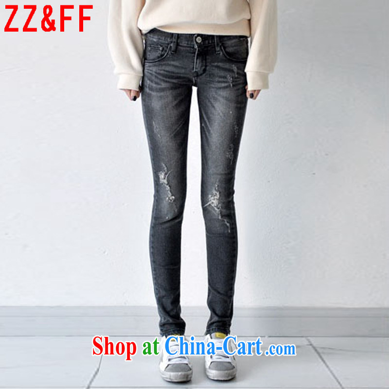 ZZ _FF summer 2015 new larger female holes stretch jeans girls NZK 6106 gray 40