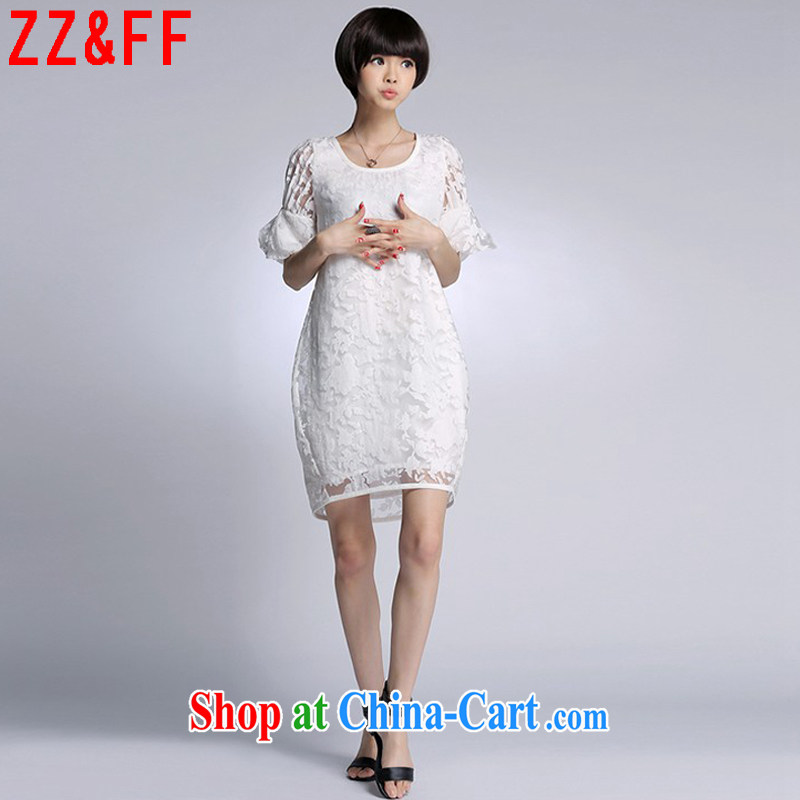 ZZ &FF 2015 summer new women with large, long, lace stitching relaxed dress girls summer 1106 LYQ white XXXL