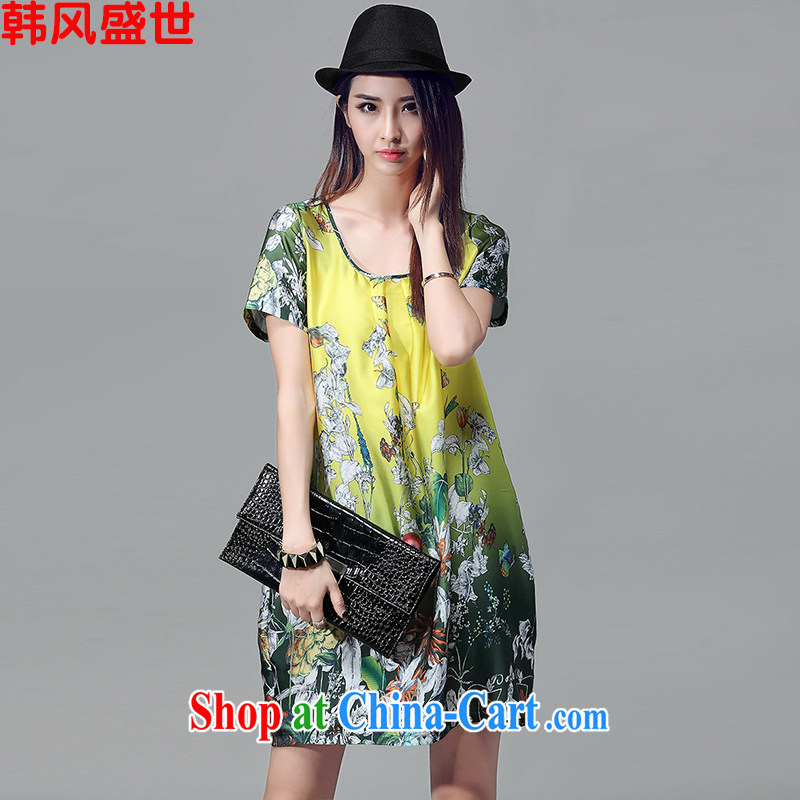 In prosperity and indeed XL summer new ink stamp short-sleeved dresses girls retro art van damask lantern skirt suit _it is recommended that 100 jack - 180 jack wear_ L