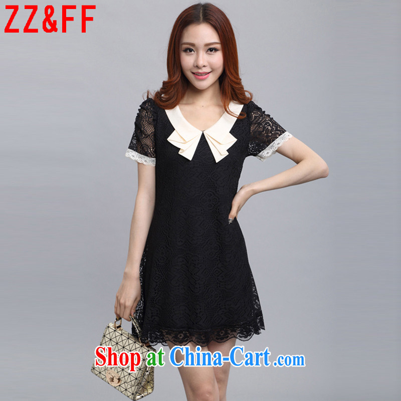 ZZ _FF 2015 summer new, larger female lace short-sleeved solid dresses female LYQ 583 black XXXL