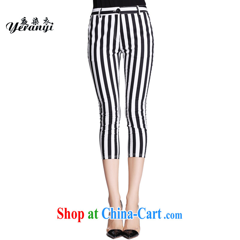 Summer 2015 new, the United States and Europe, women are decorated in zipper pocket 9 pants mm thick zipper black-and-white striped pants black-and-white stripes 7 XL (200 - 220 ) jack