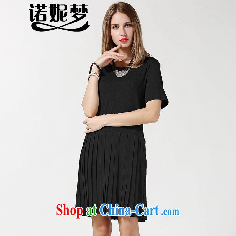 Connie's dream in Europe and America, the female summer is indeed the greater 2015 new, thick mm minimalist graphics thin short-sleeved dresses snow woven 100 hem skirt s 3630 black XXXXL