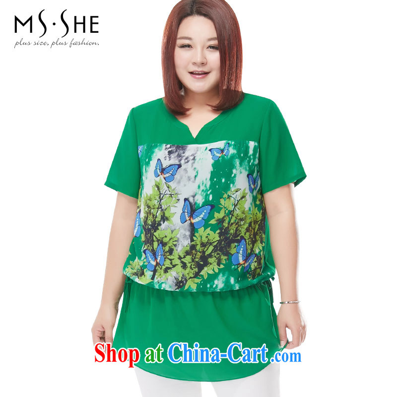 MSSHE XL female snow woven shirts 2015 new summer V collar butterfly stamp snow woven shirts are not rules 4359 green 3 XL