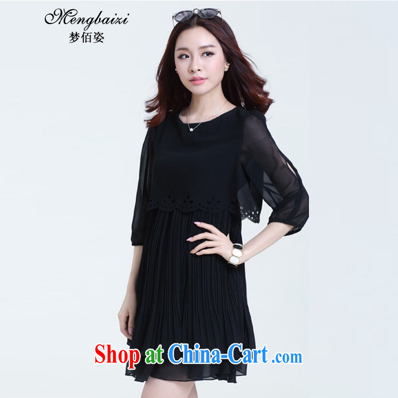 Let Bai beauty summer 2015 new Korean version XL short-sleeved 100 hem loose video thin thick snow MM woven dresses female DMY _345 black 7 cuff XL 4