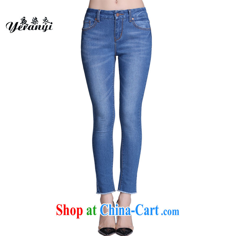 In summer 2015, the United States and Europe, the girls are being raised and legs jeans thick mm zipper pocket 9 pants dark blue L _110 - 120 _ jack