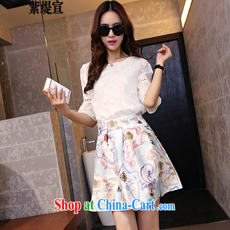 Purple long-seon won summer edition new, indeed the XL female graphics thin dresses two-piece with a short-sleeved snow woven T-shirt + body skirt 7240 #5 XL 180 - 200 Jack left and right