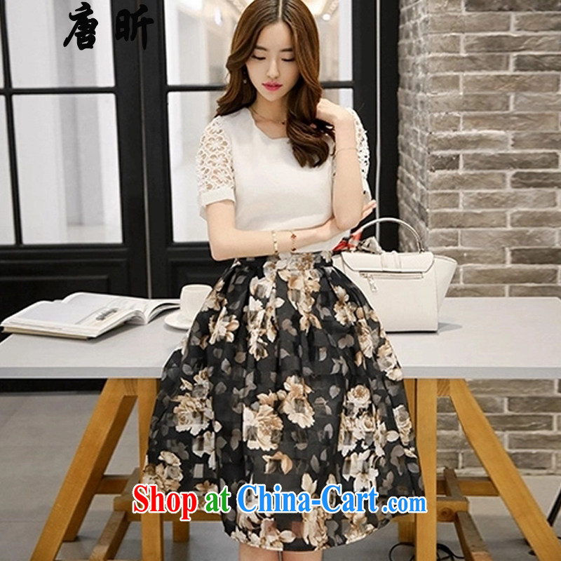 MR HENRY TANG year new summer maximum code female snow woven short-sleeved two-piece dresses thick MMT shirt + floral long skirt white + floral skirt 7256 XL 4 165 - 175 about Jack