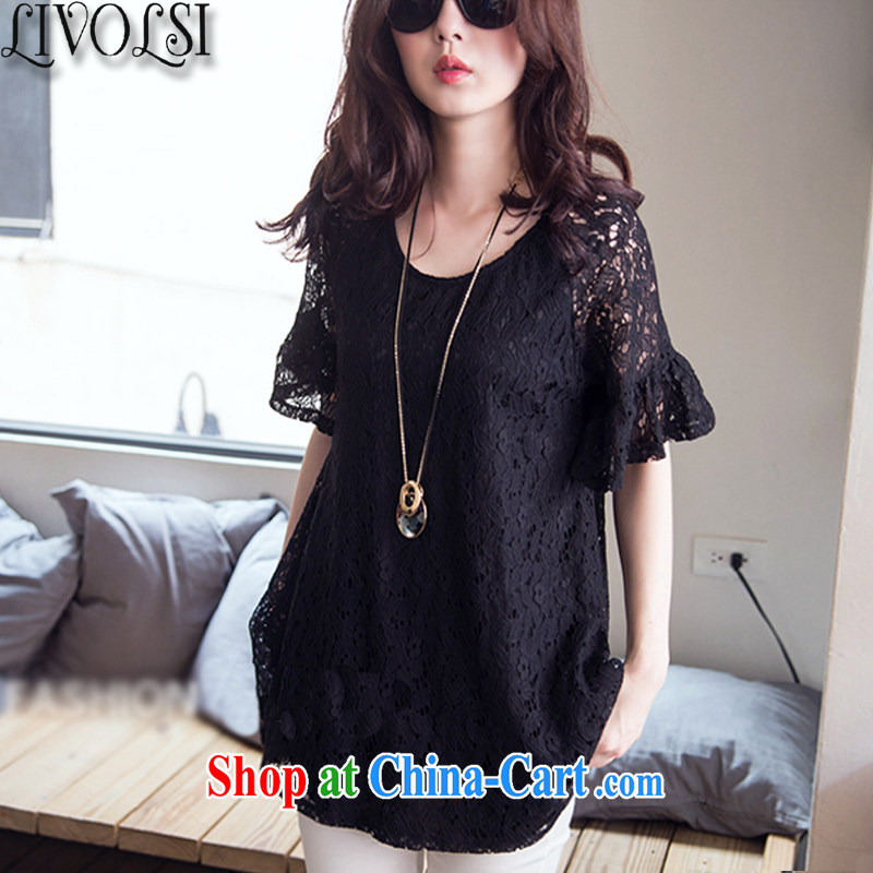 Livolsi summer 2015 New, and indeed more generous king, female, long sleeved shirt T shirt thick mm video thin lace shirt black 6 XL