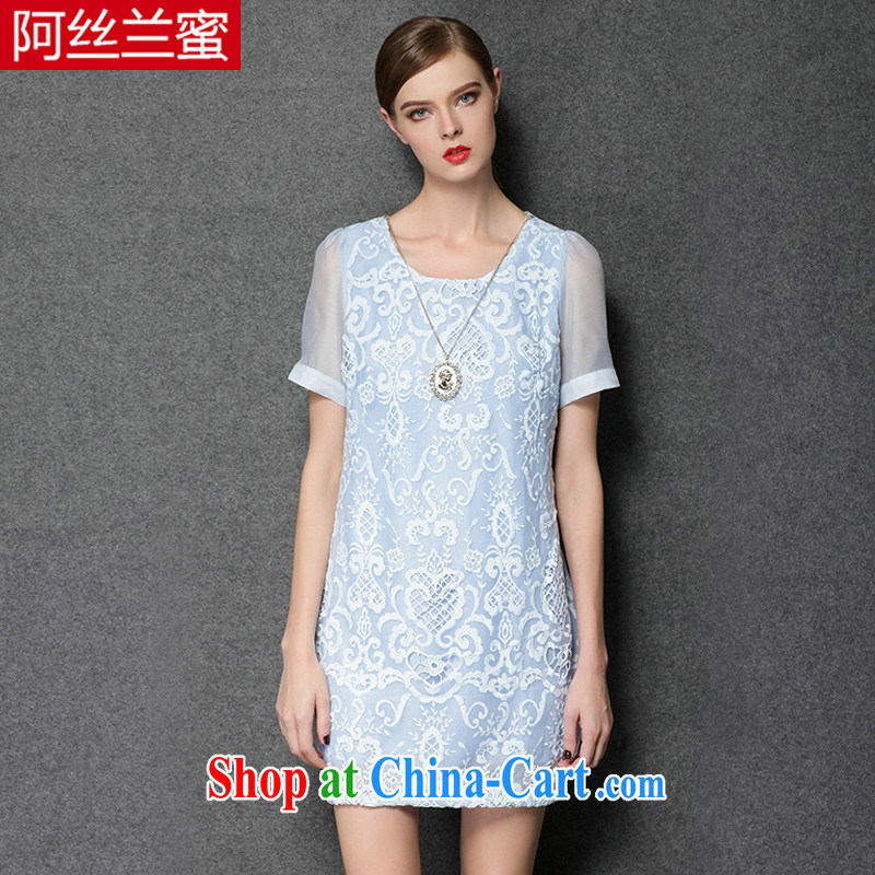 The silk, honey XL girls thick MM graphics thin 2015 summer lace hook take the root yarn stitching short-sleeved beauty dresses ZZ 3389 blue 2 XL (135 jack - 149 Jack through)