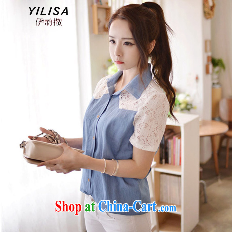 She sub-Saharan new Korean version of the greater code female summer cowboy stitching lace stylish casual summer shirt thick MM graphics thin fresh casual short-sleeved shirt H 5136 photo color 5 XL