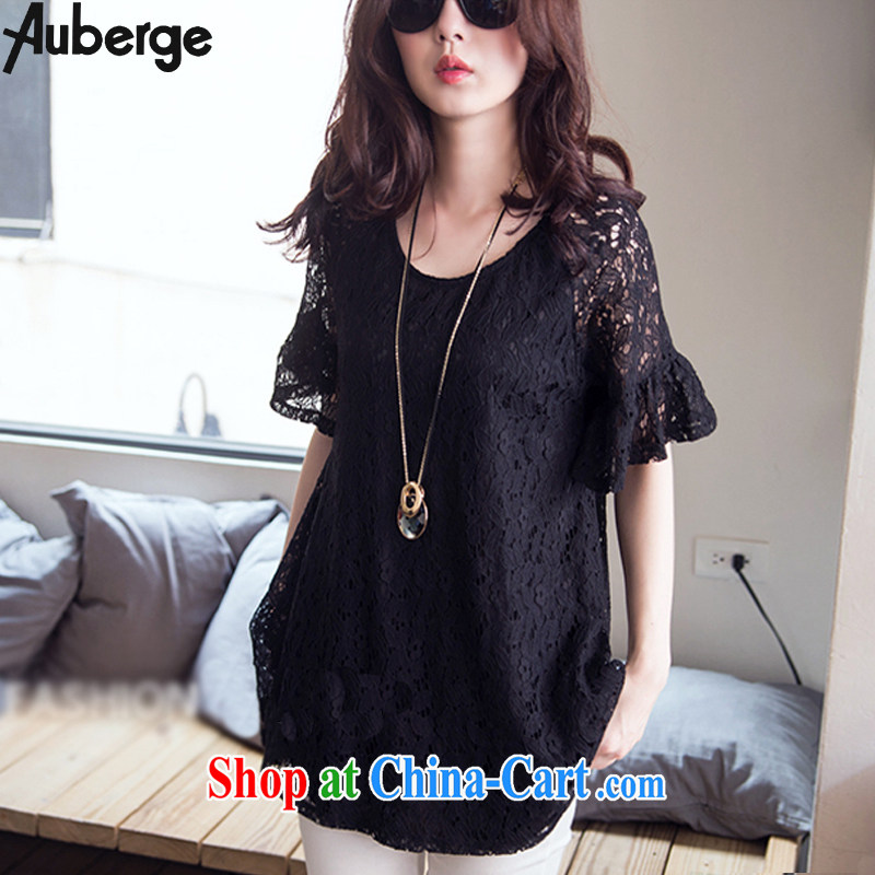Auberge summer 2015 New, and indeed more generous king, female, long sleeved shirt T shirt thick mm video thin lace shirt black 4 XL
