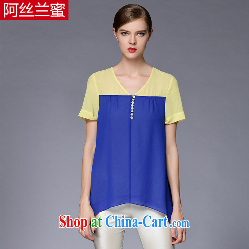 The silk, honey and ventricular hypertrophy, female fat MM graphics thin 2015 summer hit color stitching snow woven shirts T pension ZZ 3396 blue XL _120 jack - 134 Jack through_