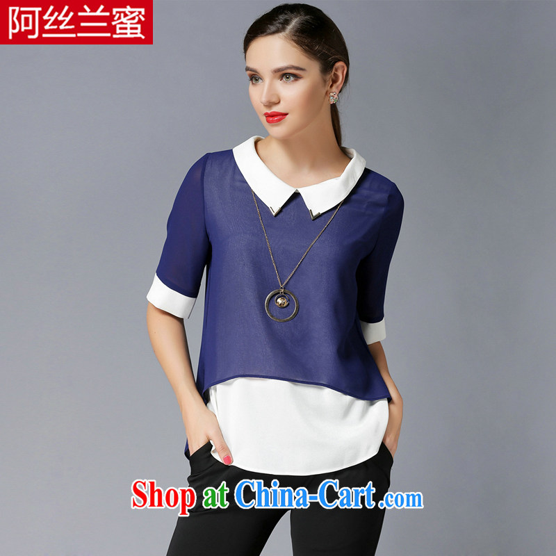 The silk, honey and ventricular hypertrophy, female fat MM graphics thin 2015 summer leave two collision-color beauty T shirt T-shirt ZZ 3393 dark blue 3XL (150 jack - 164 Jack through)