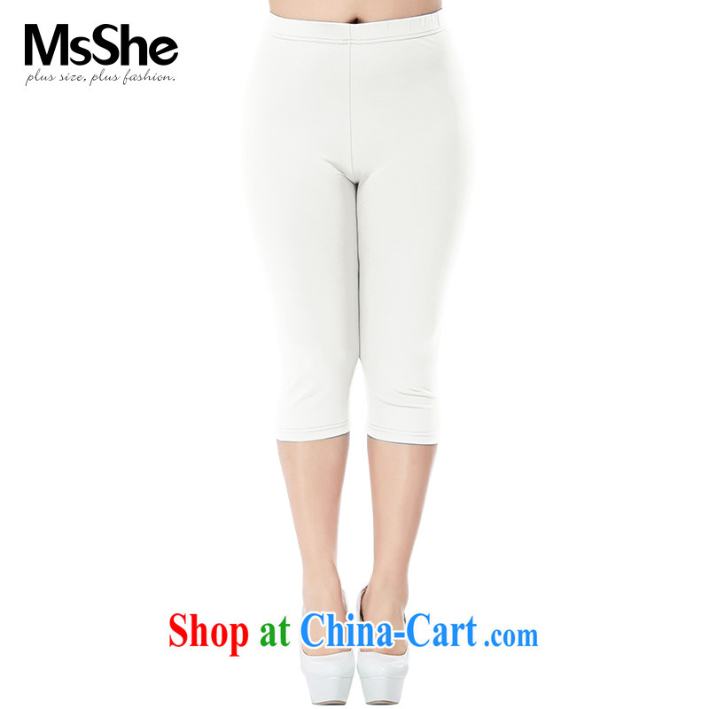 MSSHE XL girls 2015 new summer stretch cotton with elastic band waist 7 solid pants pre-sale 4745 White - pre-sale 6.30 day T 3