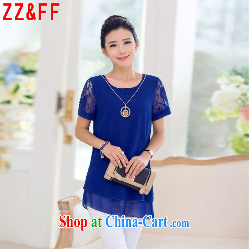 ZZ _FF 2015 summer new, larger female lace stitching leave two snow woven shirts female XFS 086 blue XXXXL