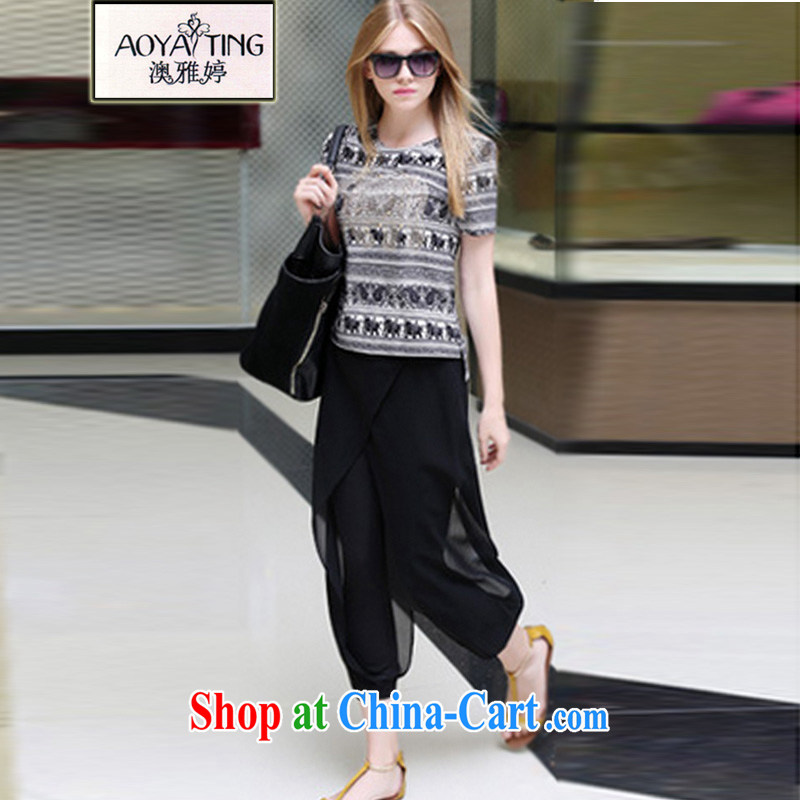 o Ya-ting 2015 New, and indeed increase, female fat mm video thin short-sleeve shirt T Snow 9 woven pants Kit black stamp two kits 5 XL recommends that you 175 - 200 jack