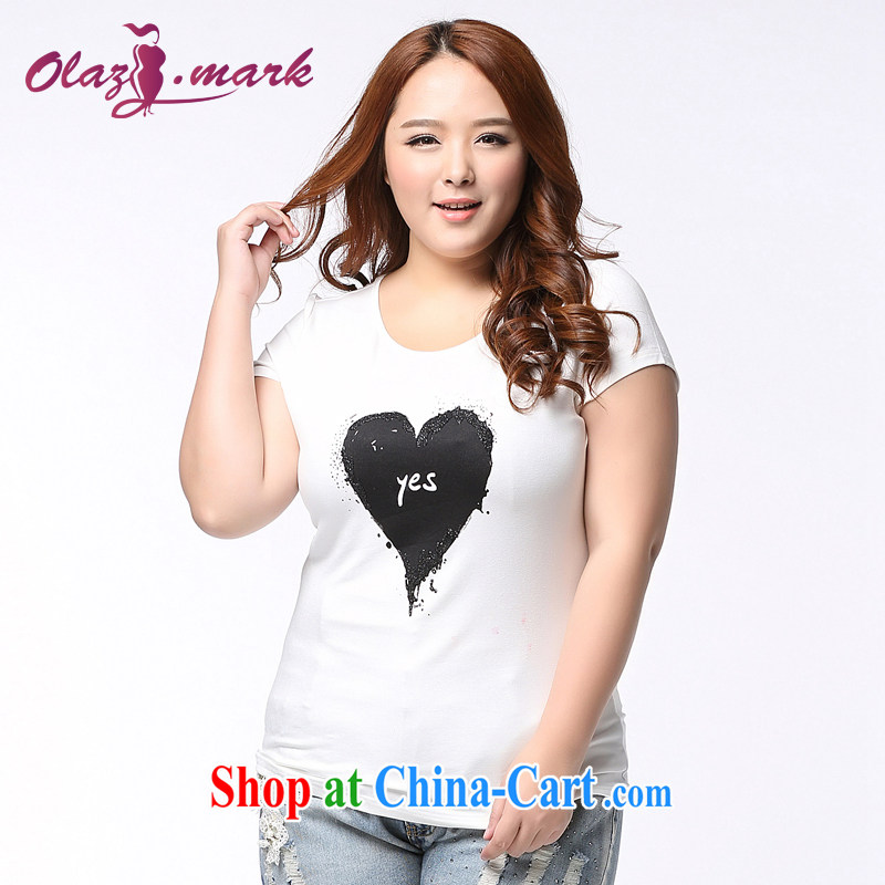 The Erez mark 2015 new thick mm larger female short-sleeved T shirt Korean fat people dress and indeed increase solid T-shirt summer 1158 white XXXL _recommended chest of 126 cm_