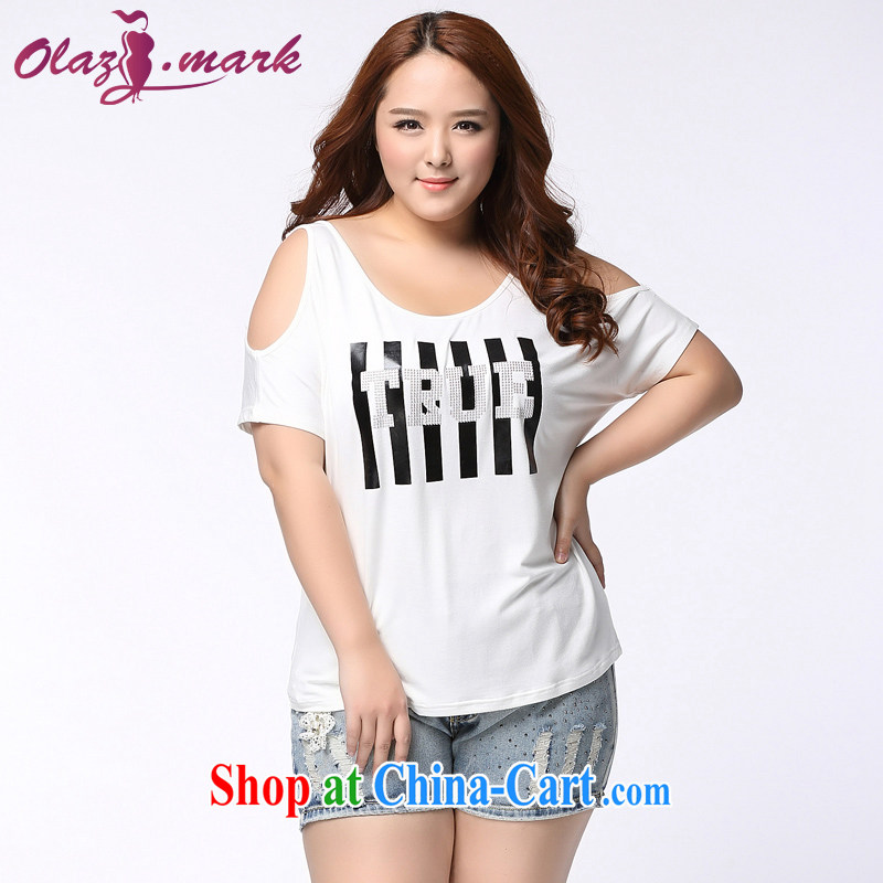 The Erez mark 200 Jack mm thick and fat XL female short-sleeved shirt T girl thick sister graphics thin solid T-shirt T-shirt summer new 1159 white XXXL _recommended chest of 126 cm_
