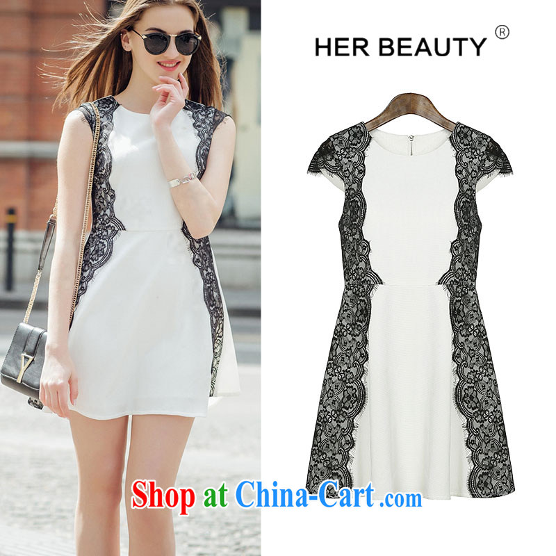 Hes American 2015 thick sister XL girls thick mm summer Korean version of the new graphics thin lace with cultivating a skirt white XL