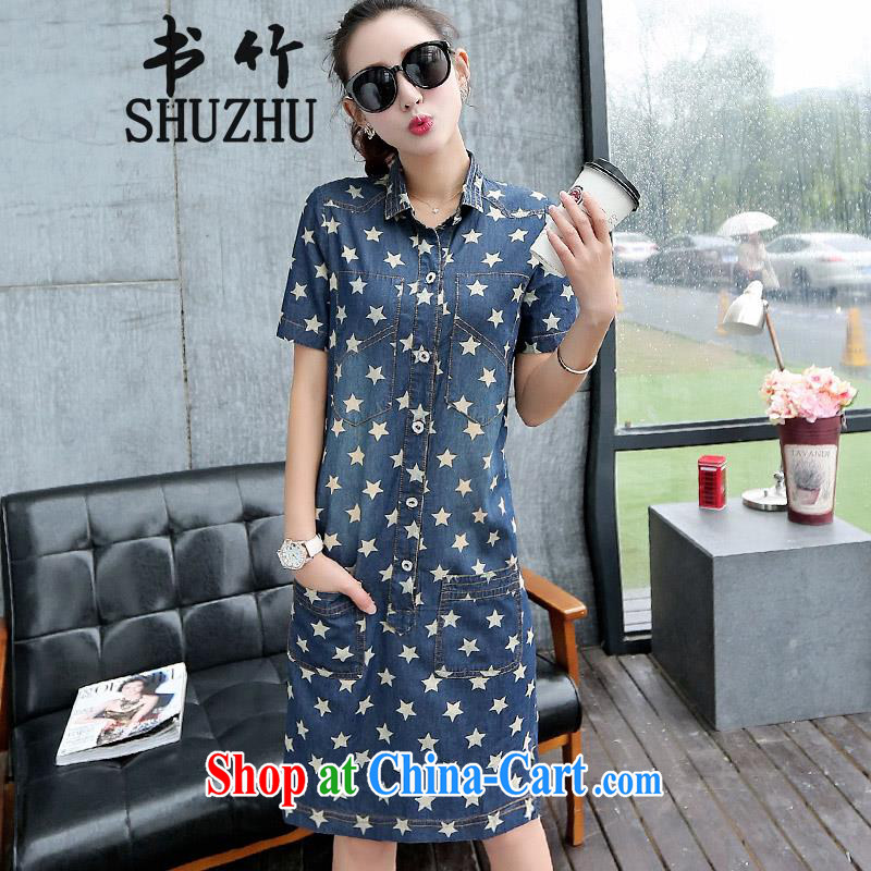 Store Home Recommended books bamboo summer new European and American large code dress floral stamp long skirts cultivating short-sleeved denim casual dress girl picture color L