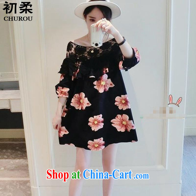 Flexible early summer 2015 Korean version of the greater code female thick sister graphics thin stitching black sexy bare shoulders lace dresses 200 jack to wear black XXXL