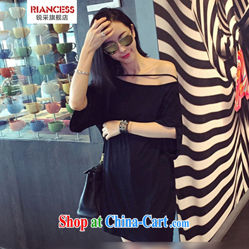 With the new Korean version the code female thick sister loose video thin bare shoulders sexy T shirts skirts black XL