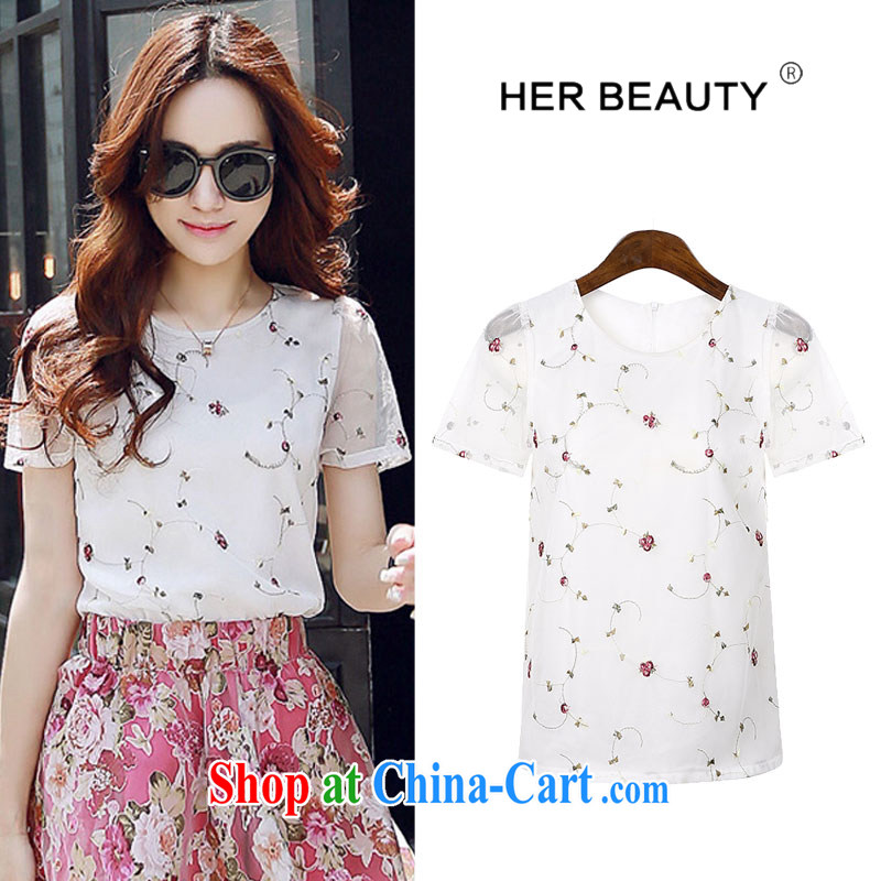 Hes American XL female 2015 mm thick summer new thick sister graphics thin Korean embroidery Web yarn short sleeve round neck T-shirt fancy XL