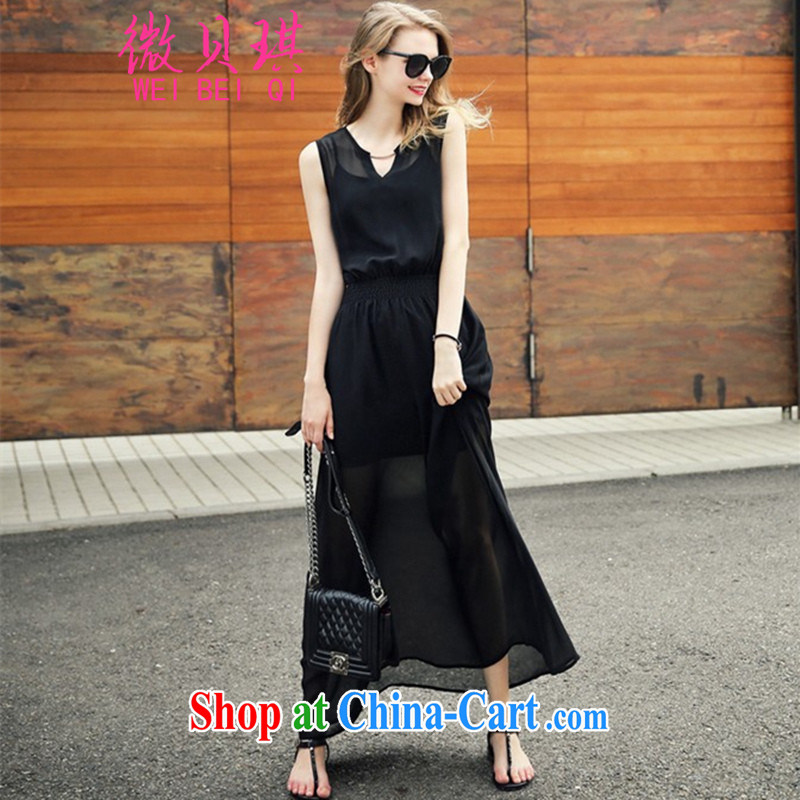 Micro-Pui Chi European site high-end the sense of summer new Snow woven beach skirts dresses female black sleeveless style personality cultivation large code loose video slim skirt black 5 XL