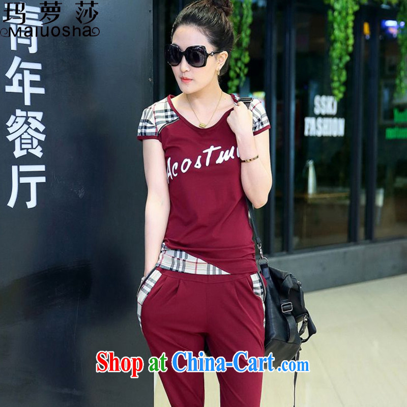 Margaret Elizabeth Kahlo's 2015 new female lounge, children's Summer Campaign Kit stylish beauty short-sleeve 7 pants two-piece deep red XXXL