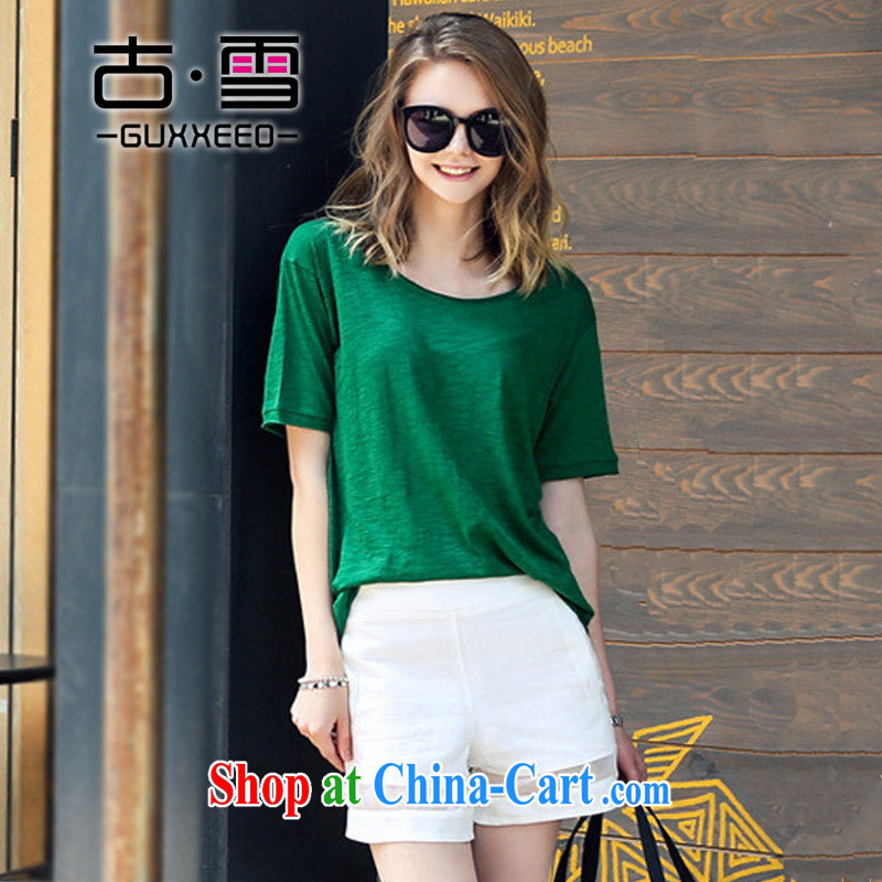 The snow in summer 2015, the United States and Europe and is indeed increasing, female fat mm video thin short-sleeved T shirt + shorts two pack green XXL