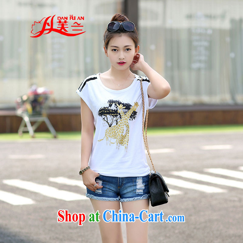 Bin Laden could be estimated _DAN FU AN_ summer new deer stamp round-collar short-sleeve larger girls T-shirts girls personalized girls with white XL _105 - 120 _ jack