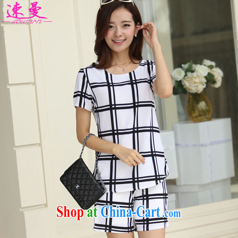 Speed Cayman 2015 summer new short-sleeved round-collar tartan shirt + Korean grid style shorts XL women mm thick and Beauty package 515 black-and-white grid XXXL