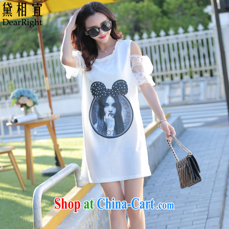 Diane affordable 2015 new summer is indeed the XL female 200 Jack thick sister mm Korean video thin lace stitching your shoulders stamp T shirts dresses white 4XL _160 - 175 _ jack