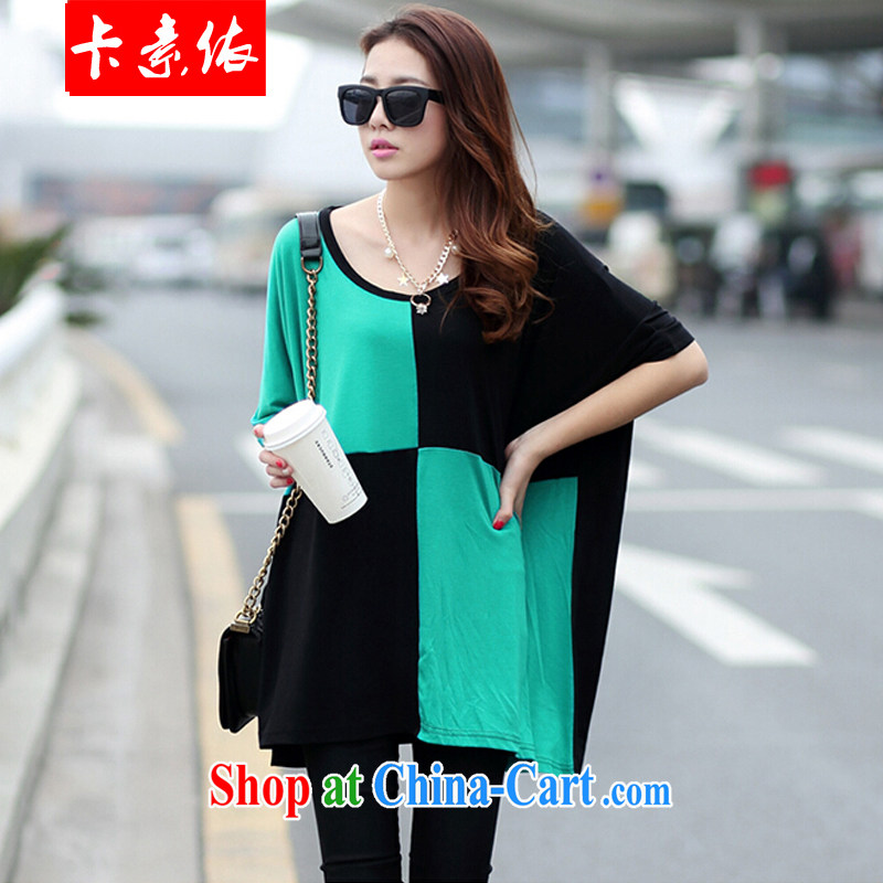 Card in accordance with our 2015 summer model real-time a Korean version of the greater code female fat lady 200Jack stitching round-collar short-sleeve T-shirt black and green are code
