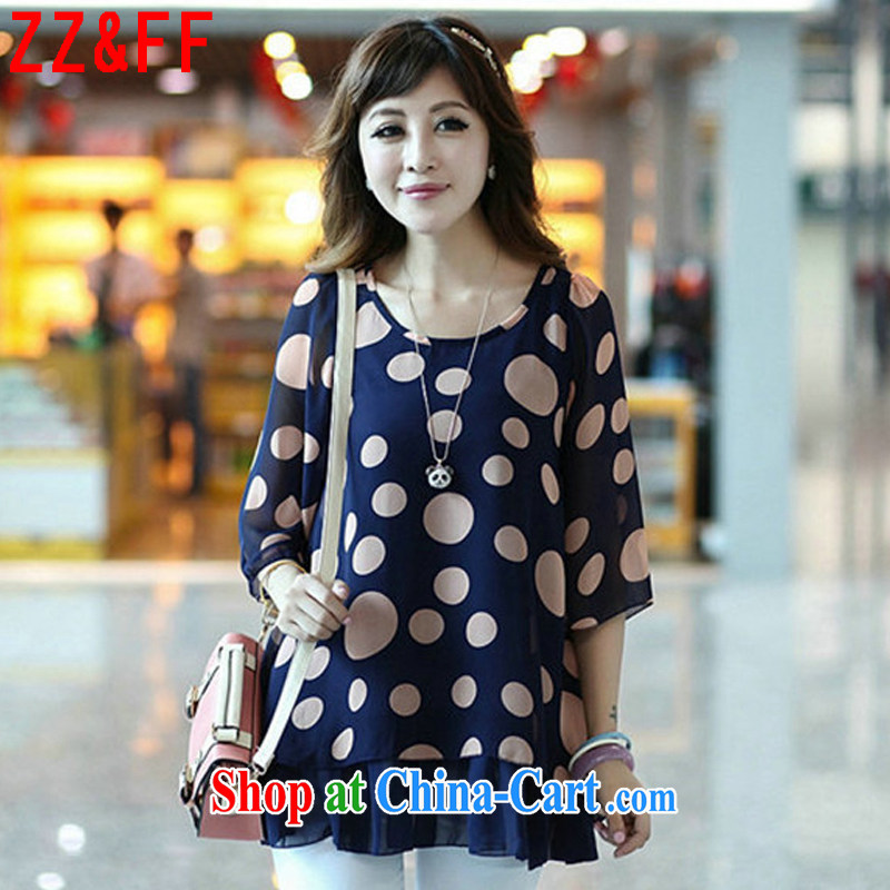 ZZ _FF 2015 summer new, larger women in relaxed long snow woven shirts women T-shirt XFS 8035 blue XXXXL