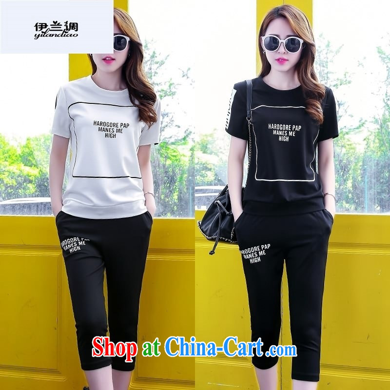 9 months female _ 2015 summer new women's clothing stylish 100 ground short-sleeve T shirts 7 pants sport and leisure package 0222880858 black XL