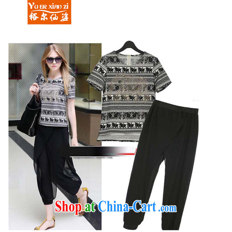 Yu's Sin City in Europe and America 2015 larger female thick MM summer new fancy graphics thin T-shirt + snow woven stitching Trouser press kit black stamp two kits 2 XL recommends that you 125 - 145 jack