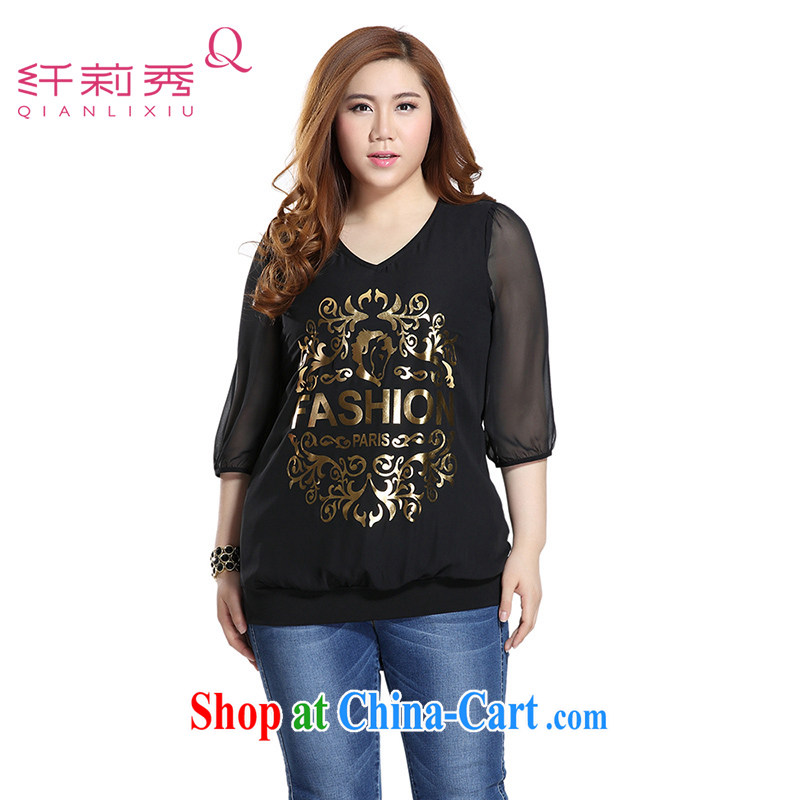 Slim LI Sau 2015 summer new, larger female style V for Snow in Europe and 7 woven into the cuff long snow woven shirts Q 7873 black 4XL